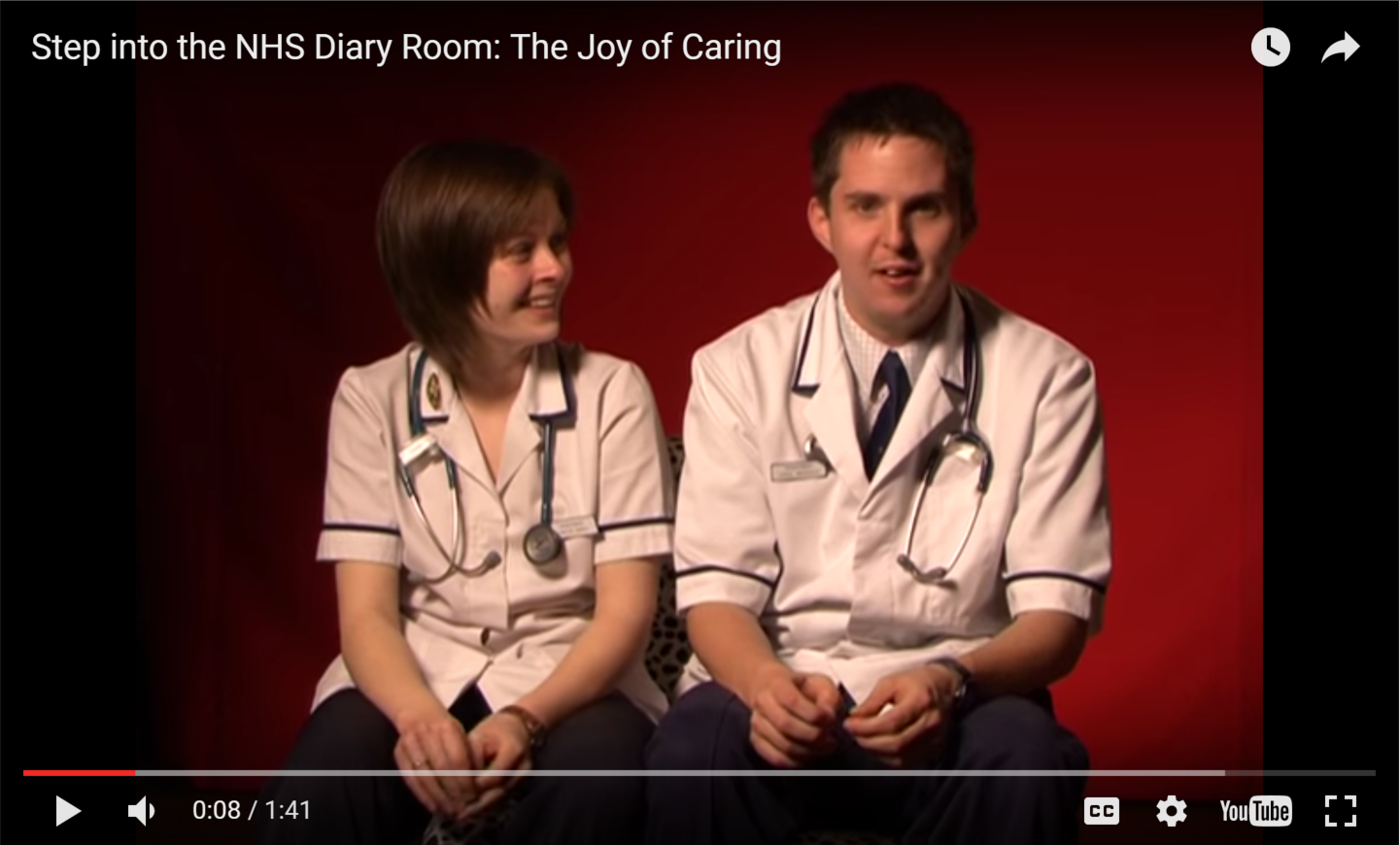 Joy of Caing video - image shows two nurses seated and facing the camera